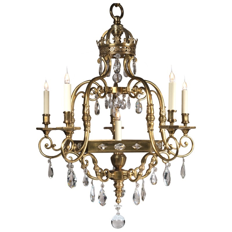 004 2017 CL Bronze Cage Crystal Chandelier