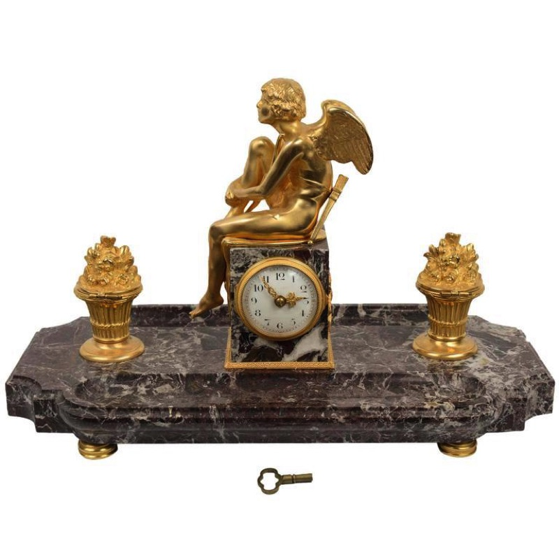 Bronze and Marble Angel Inkwell