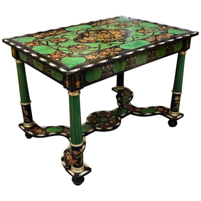 Exquisite Table Marquetry of Diverses Precious Wood