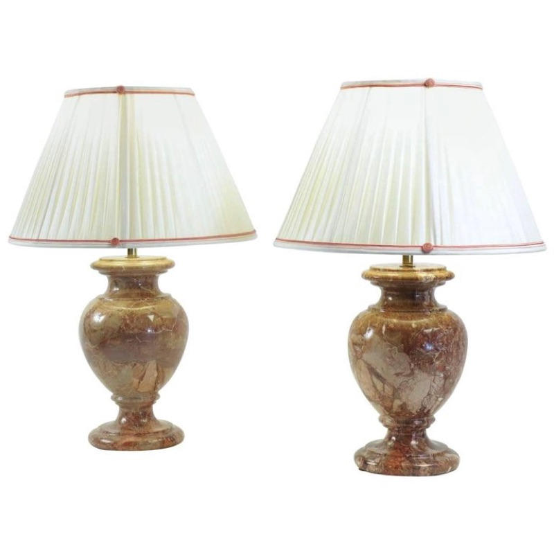 Pair of Marble Lamps 20th century