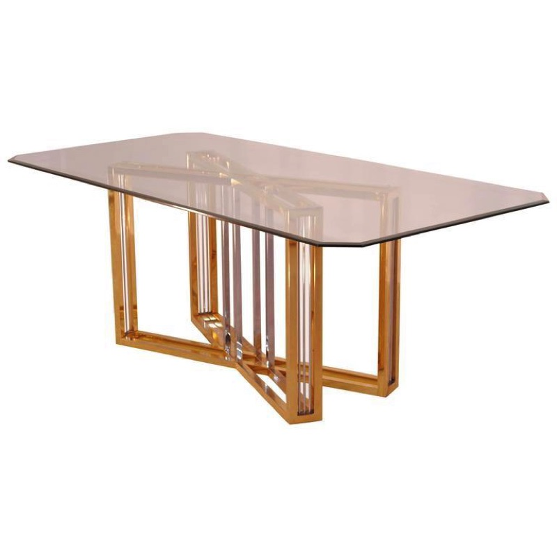 Glass & Gold-Plating Dining Table