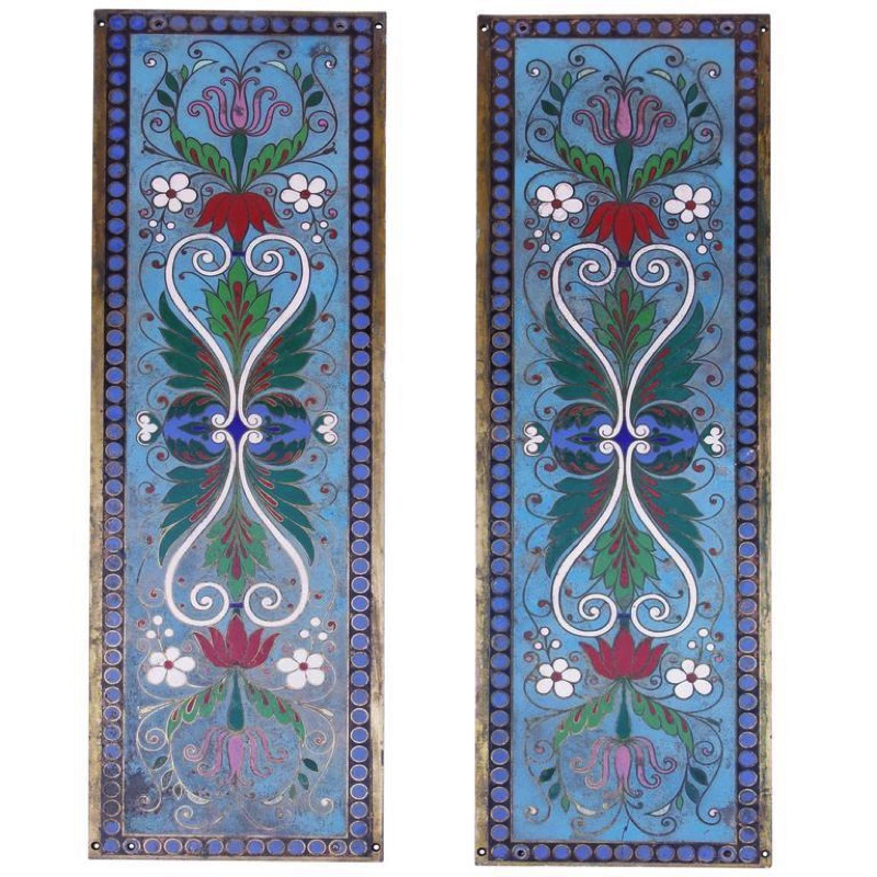 Pair of Cloisonne_ Enamelled Panels