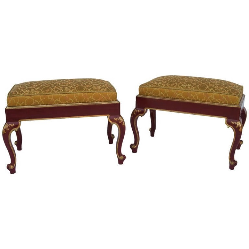 Pair of Louis XV Style Red Lacquer Stools from the 1950s Period