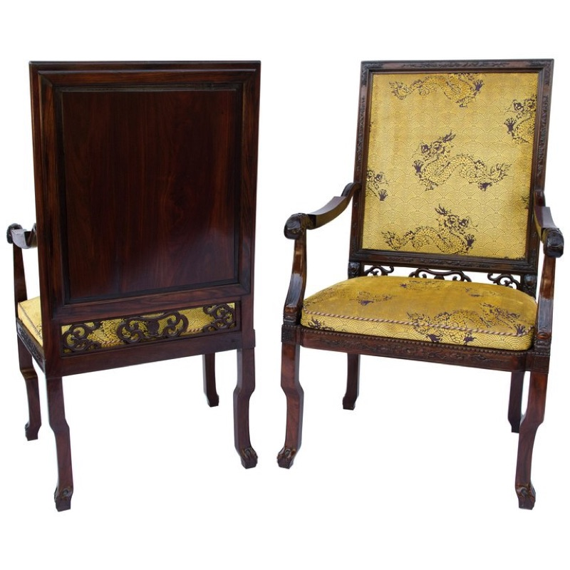Two Large Chinese Armchairs late 19th century period