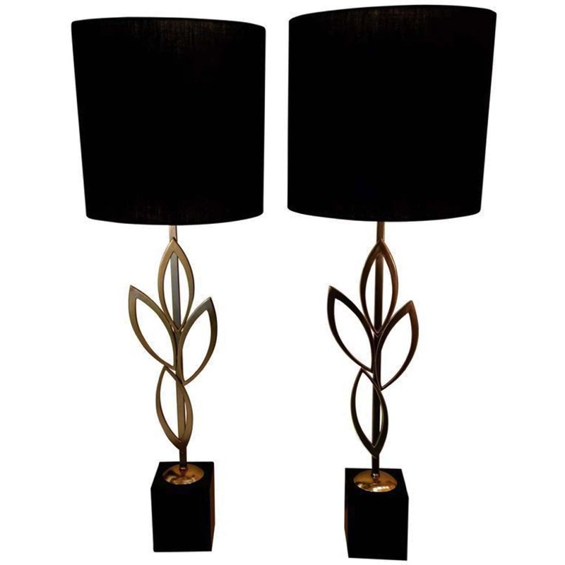 Pair of Matte Brass Leaf Lamps