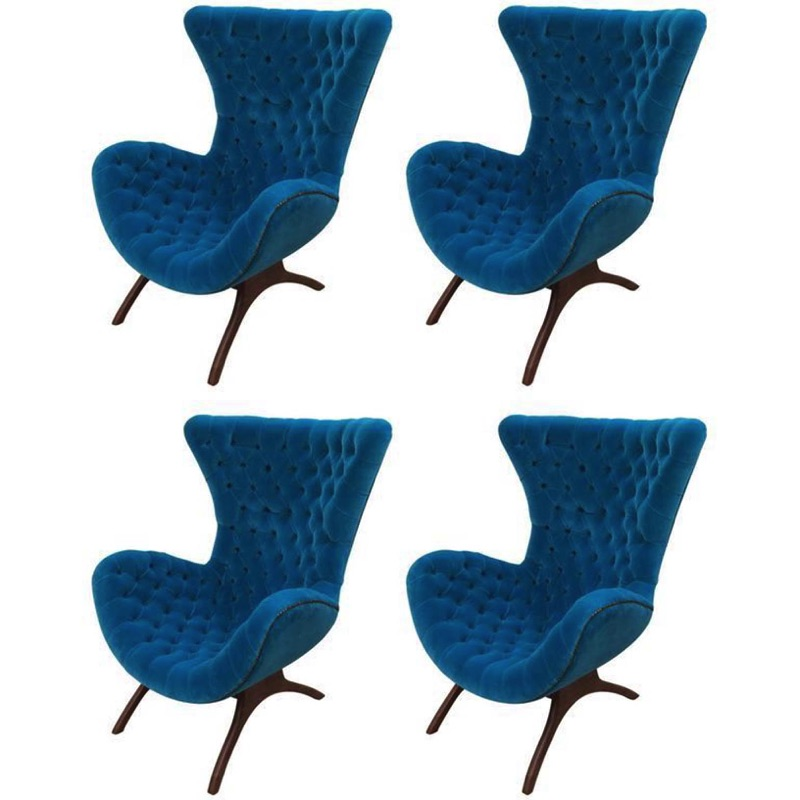 Set of Blue Lagoon Lounge Chairs