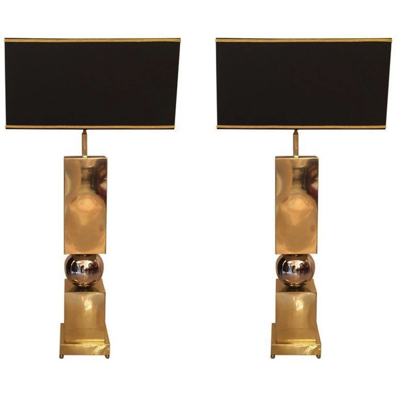 Pair of Large Brass & Chrome Lamps