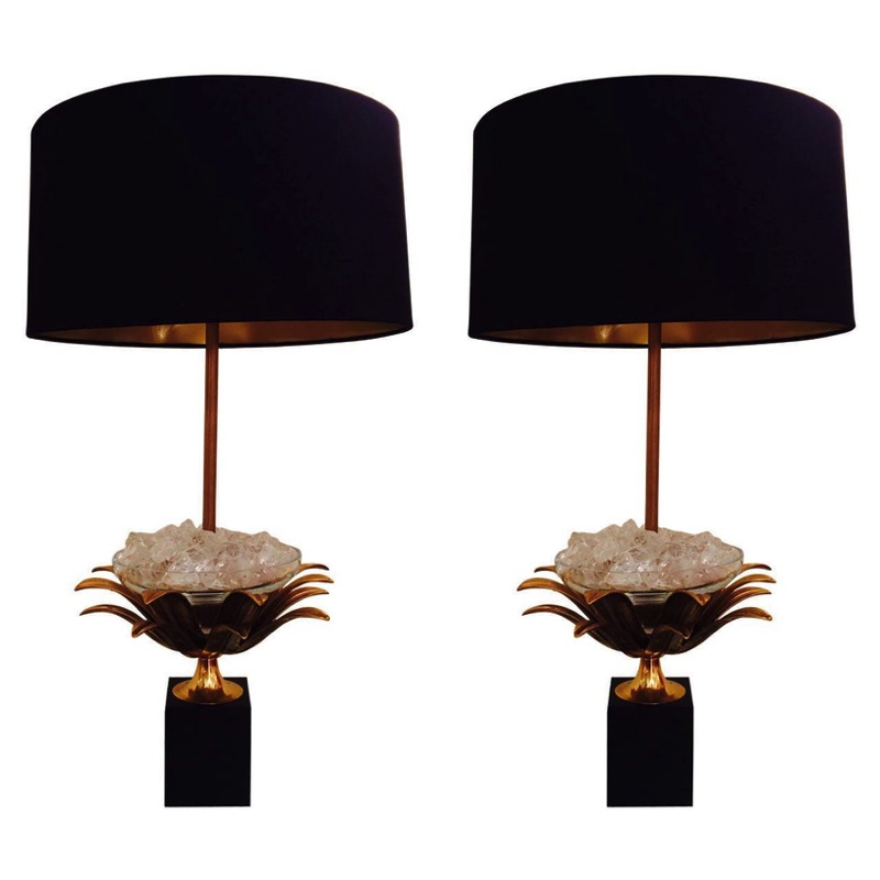 Bronze & Crystal Lotus Lamps