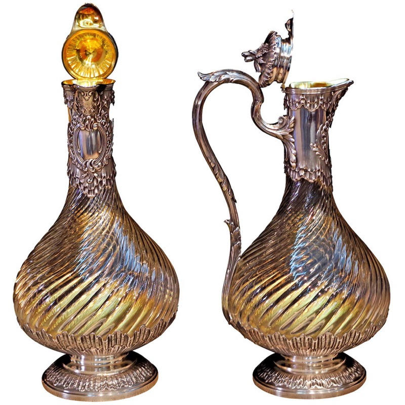 Pair of Glass & Silver Claret-Jugs