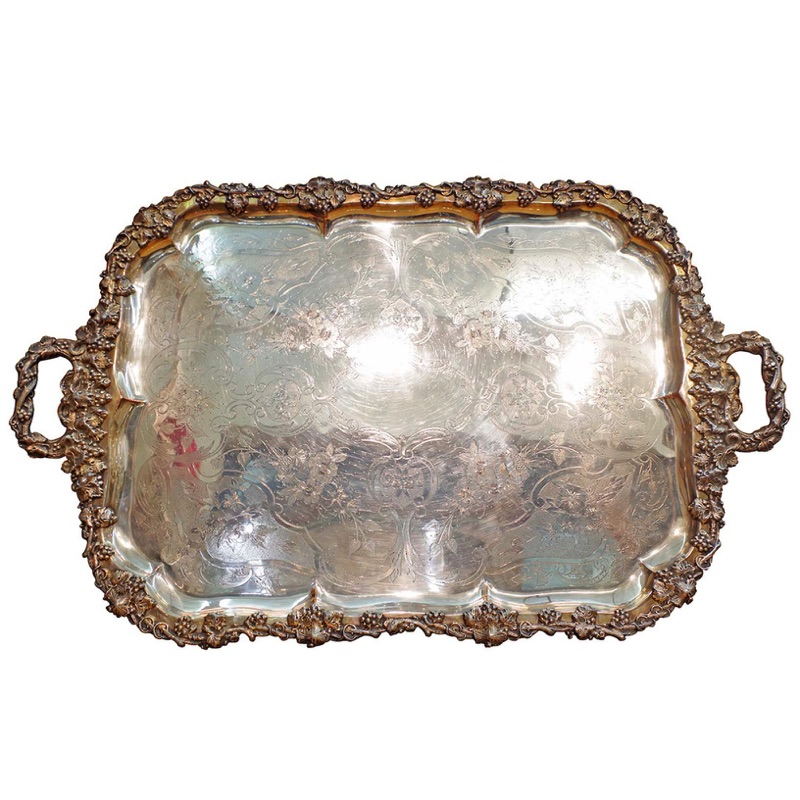 Large Ornate Silverplate Tray