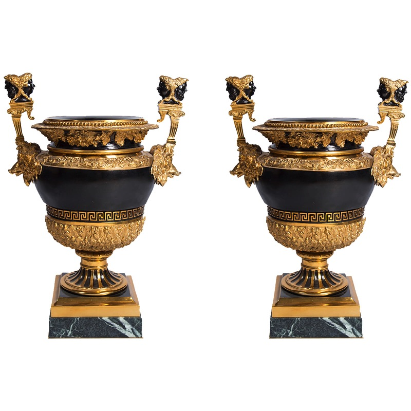 Pair of Two Gilded Patinated Bronze Vases Napoleon III Style