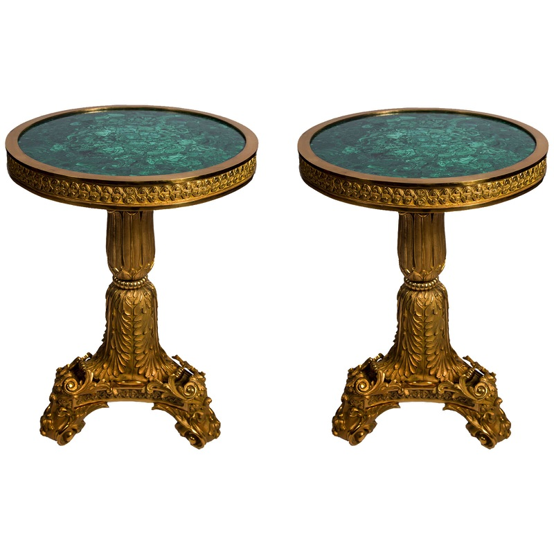 Pair of Exquisite Gilt-Bronze and Malachite Guéridon Side Tables