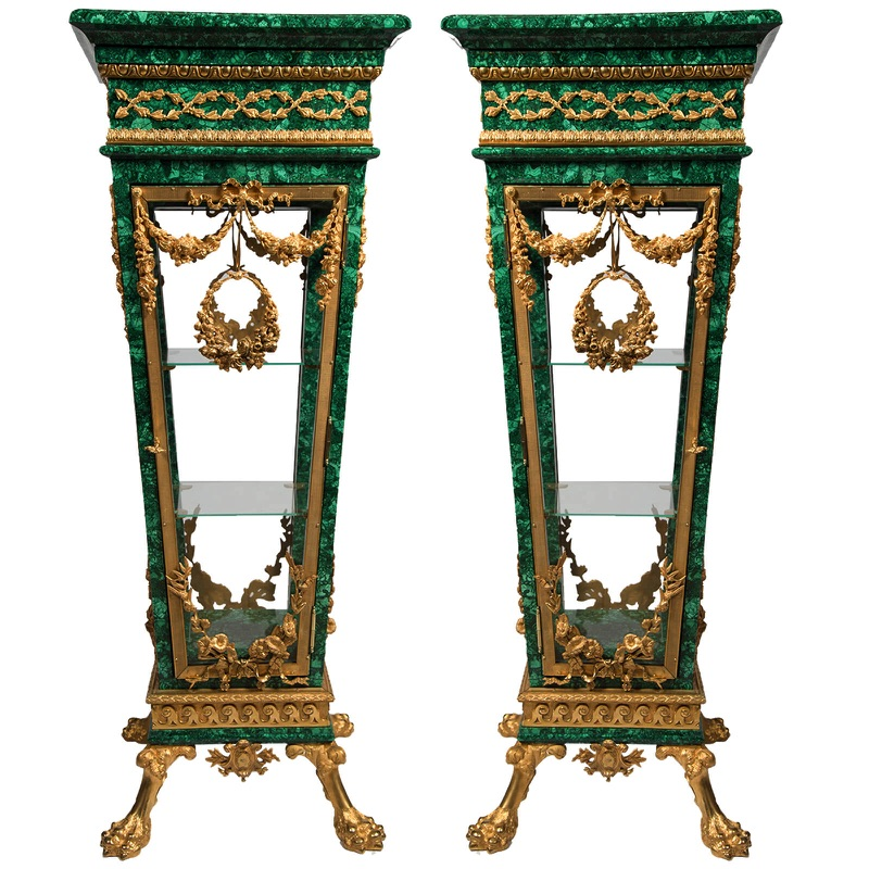 Pair of Highly Ornamented Malachite Display Cabinets in the style of Paul Sormani