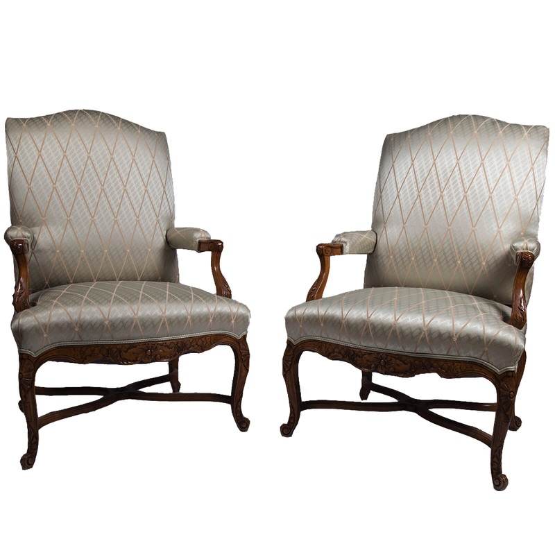 Pair of Two White Regence Style Armchairs