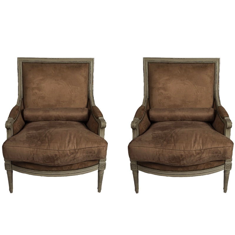 Pair of Two Bergère Louis XVI Style Armchairs 20th century
