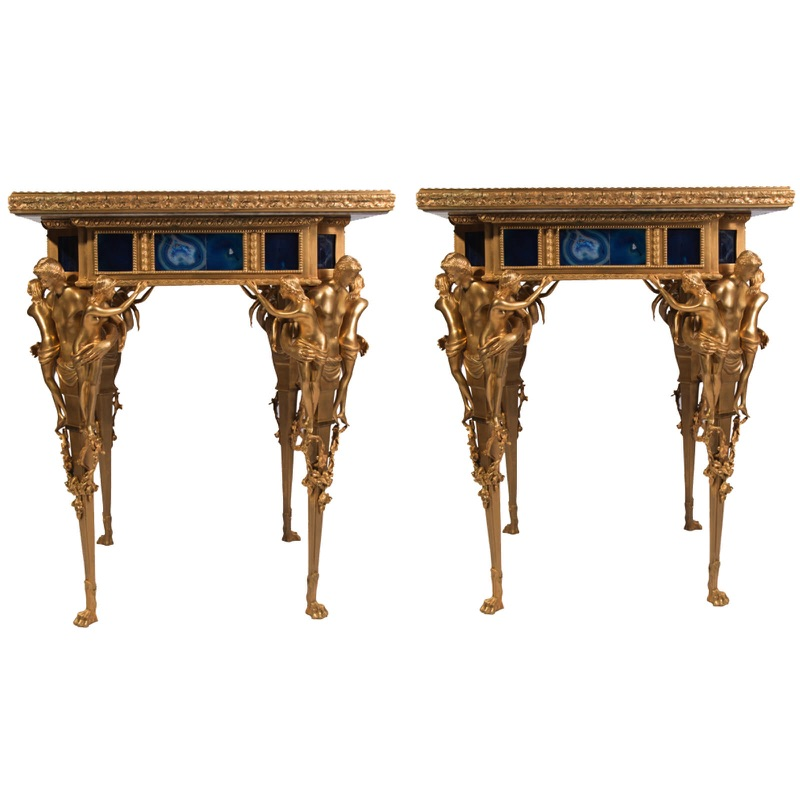 Unique Pair of Two Console Tables in Gilt-Bronze and Lapis Lazuli 20th century