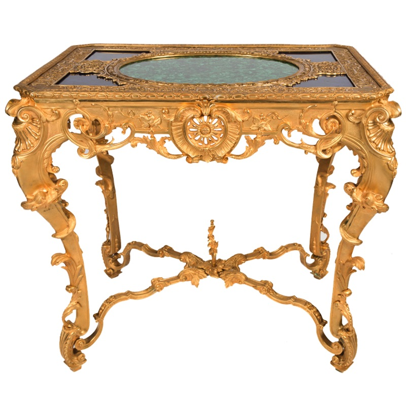 Pair of Highly Decorative Malachite Tables Napoleon III Style