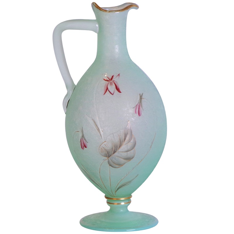 Cameo Glass Cyclamen Ewer