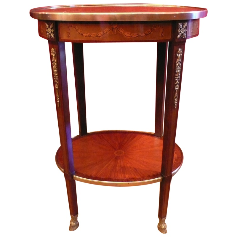 Oval Marquetry Bouillote Table