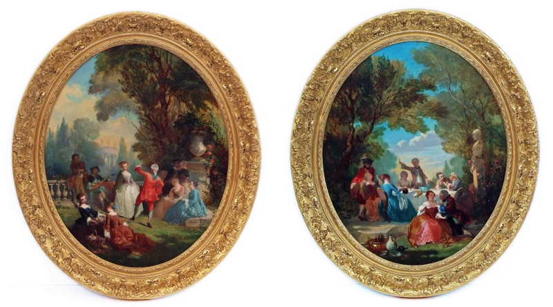 Pair of Still Lifes The Court at the Castle Grounds Genre Scene circa 1844