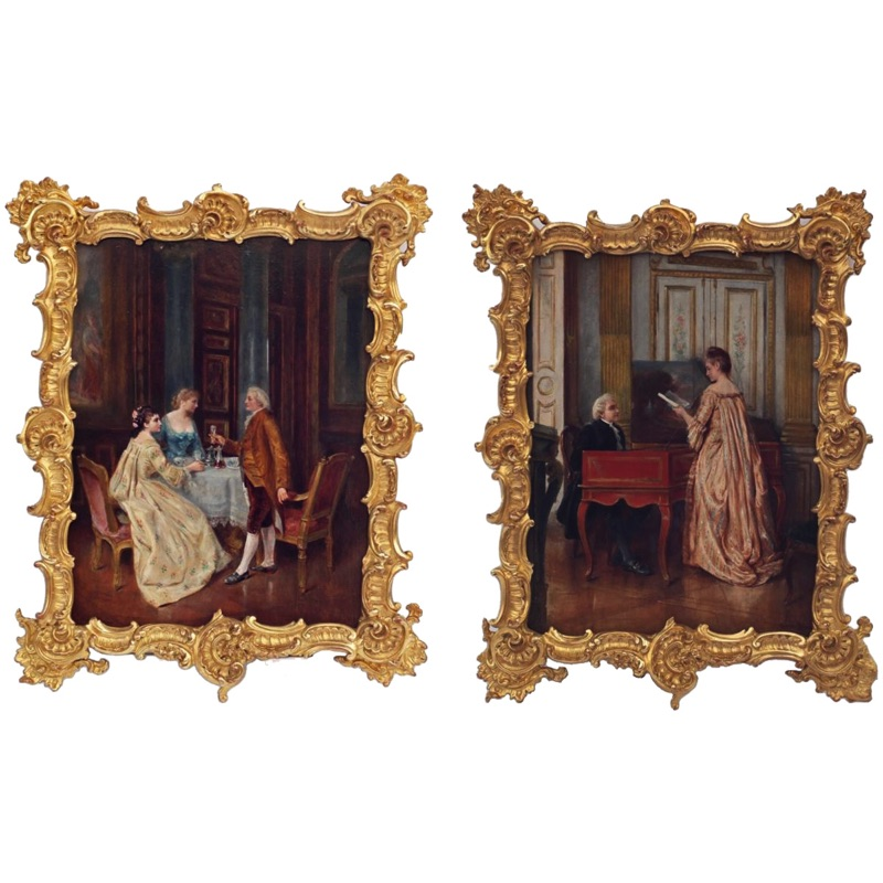 Pair of Genre Scenes The Dinner and the Music Lesson 19th century