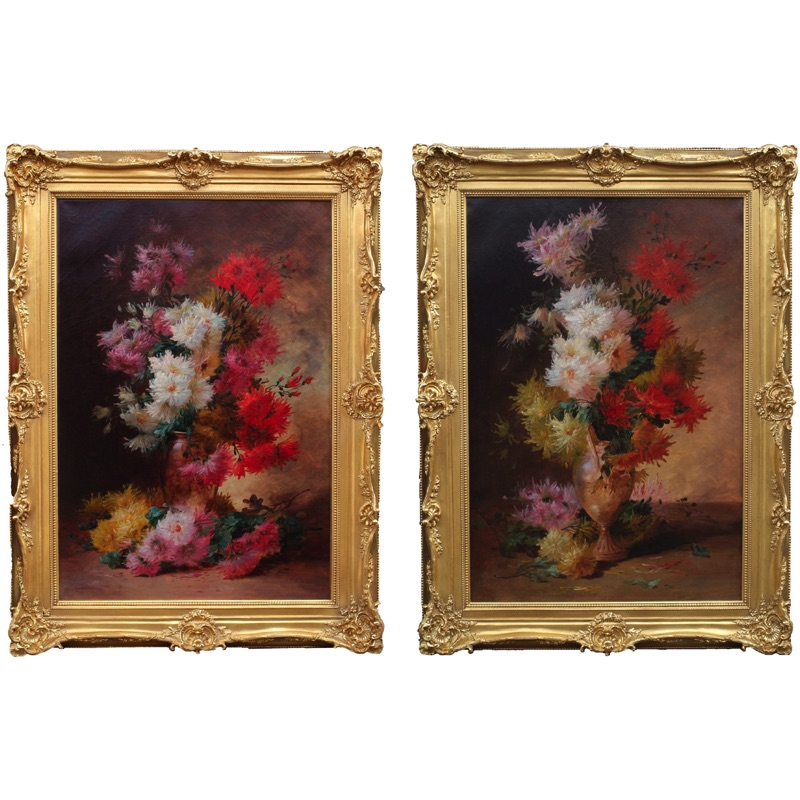 Pair of Still Lifes Chrysanthemum Bunches 19th century