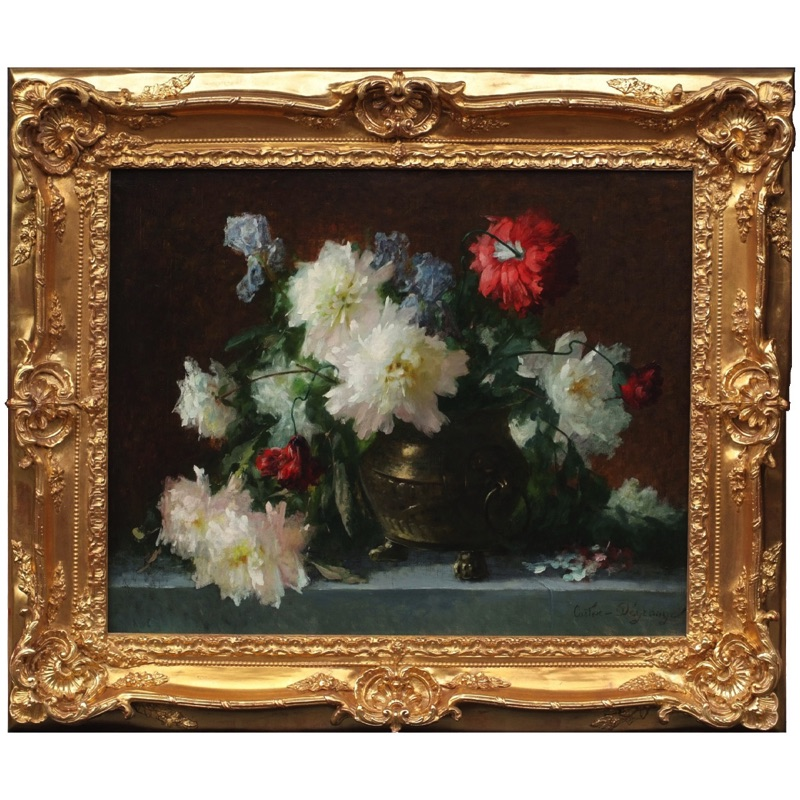 Still life Bunch of Flowers in a Copper Vase 19th century