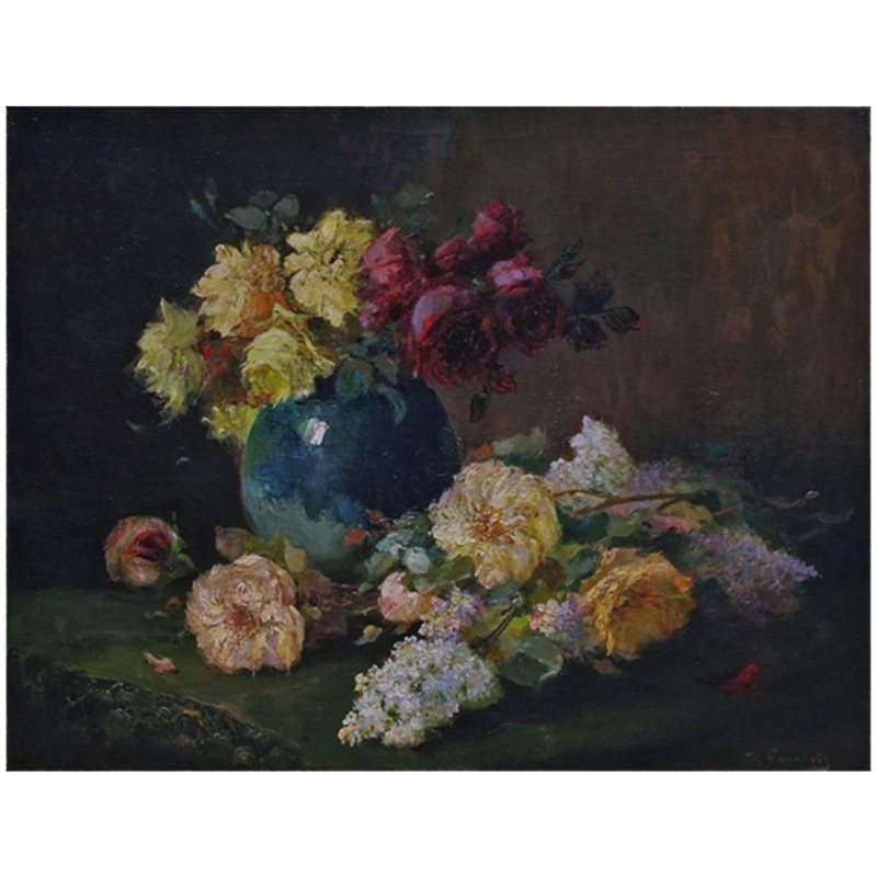 Still life Flowers with Blue Vase 19th century