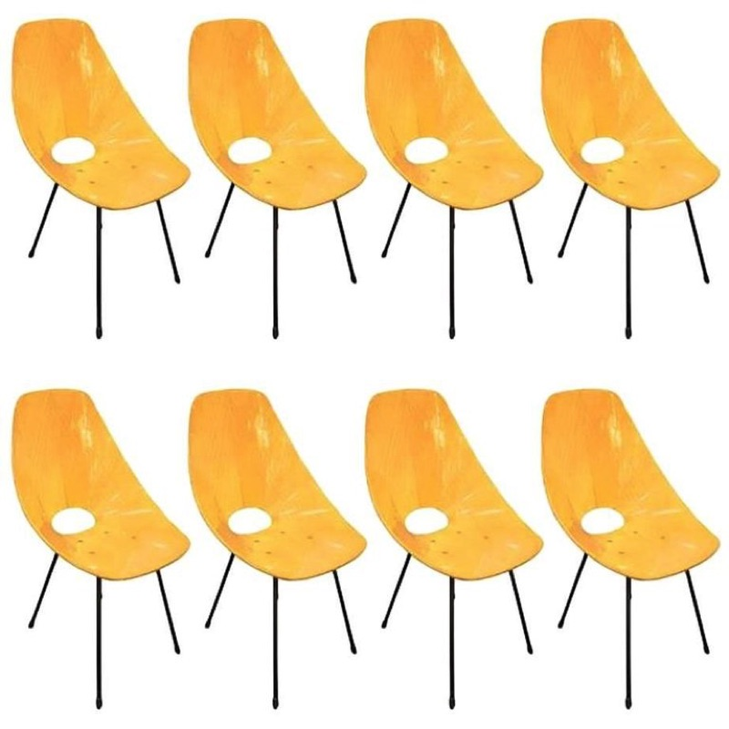 Fantastic Set of Eight Medea Chairs by Vittorio Nobili Signed circa 1960