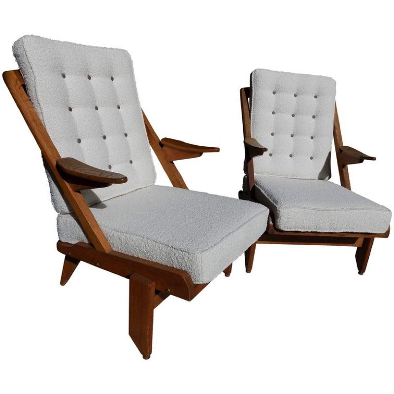 Beautiful Pair of Guillerme et Chambron Reupholstered Armchairs circa 1960