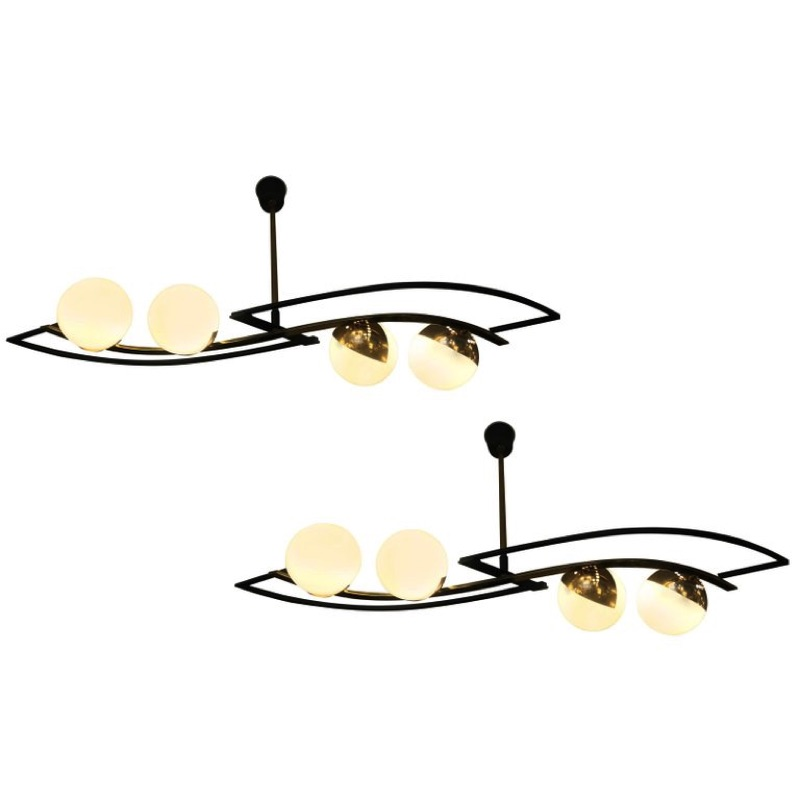 Beautiful Pair of Ceiling Lights in the Style of Stilnovo
