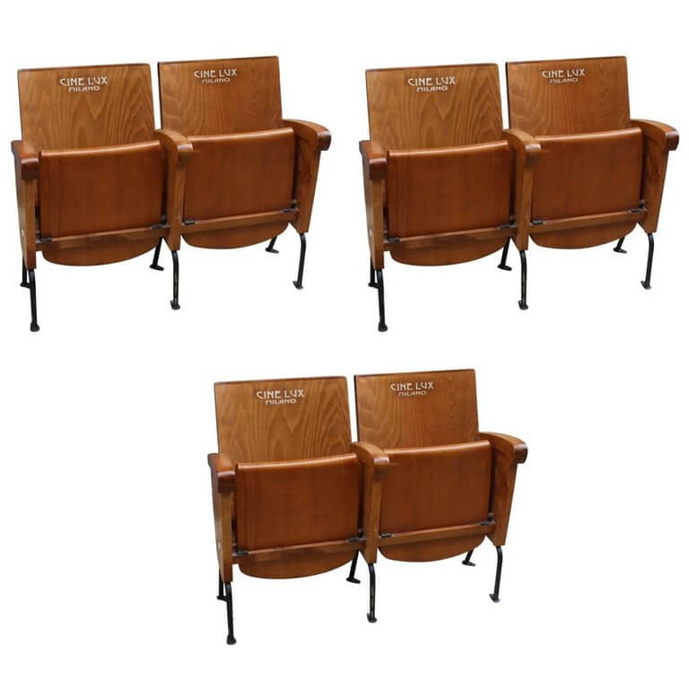 Set of Six Double Fold-Up Seat from Cinema Cinelux in Milano circa 1960