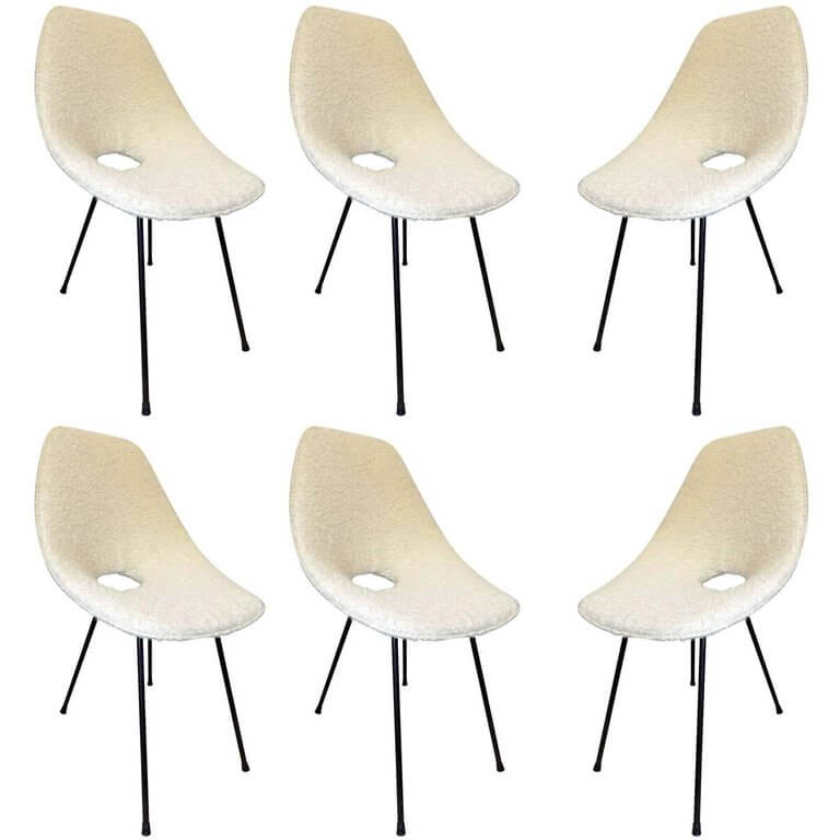 Vittorio Nobili Beautiful Set of Six Medea Chairs circa 1960 Reupholstered