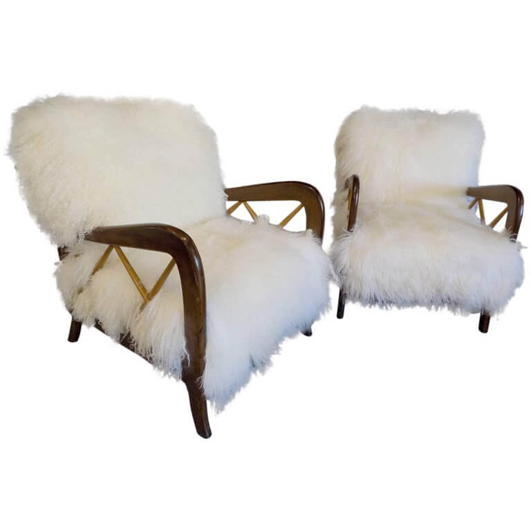 Beautiful Pair of Reupholstered Armchairs Attributed to Gio Ponti circa 1960