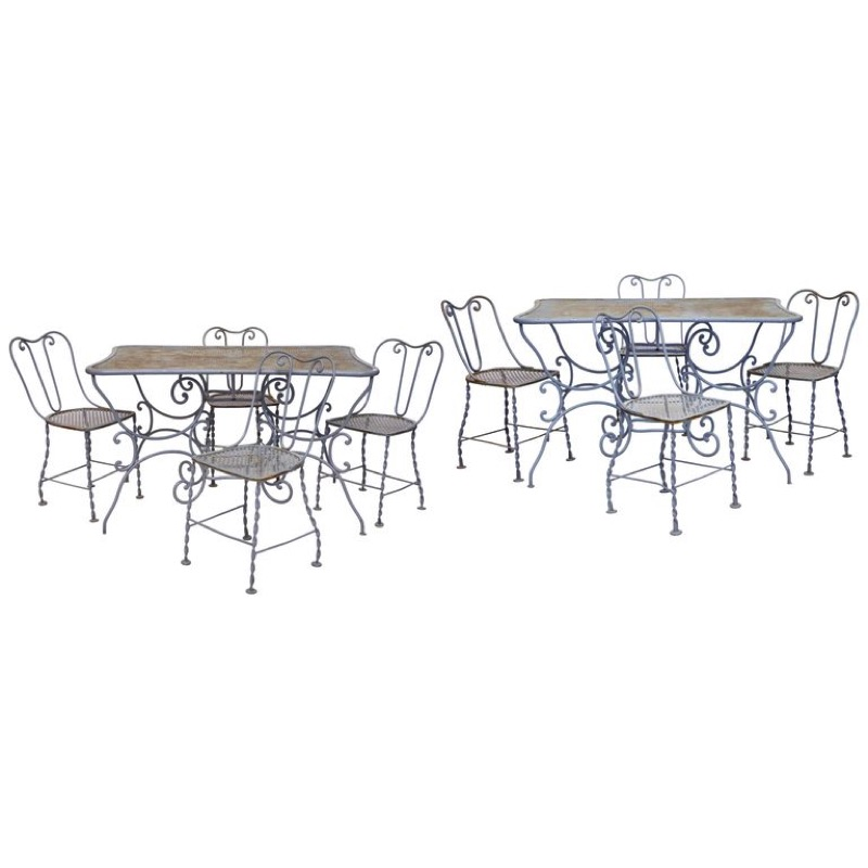 Set of Ten Pieces Outdoor Furniture in Light Grey Wrought Iron, late 19th Century
