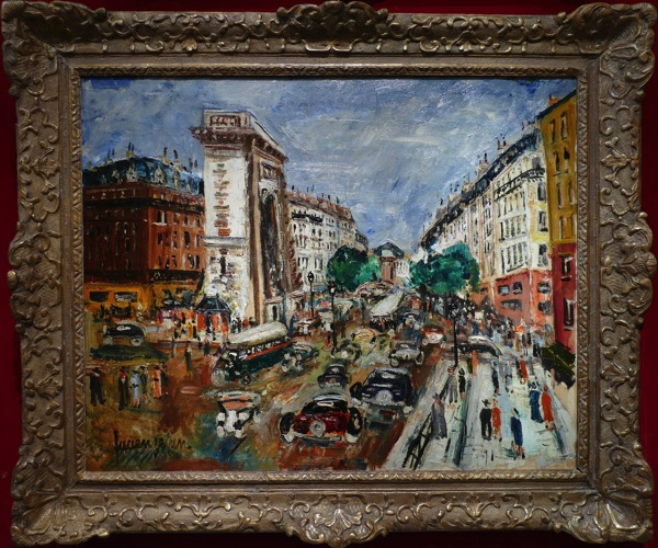 """""""The Bustling Streets of Paris, Grands Boulevards and Porte St Martin"""" by Lucien Genin, early 20th century."""