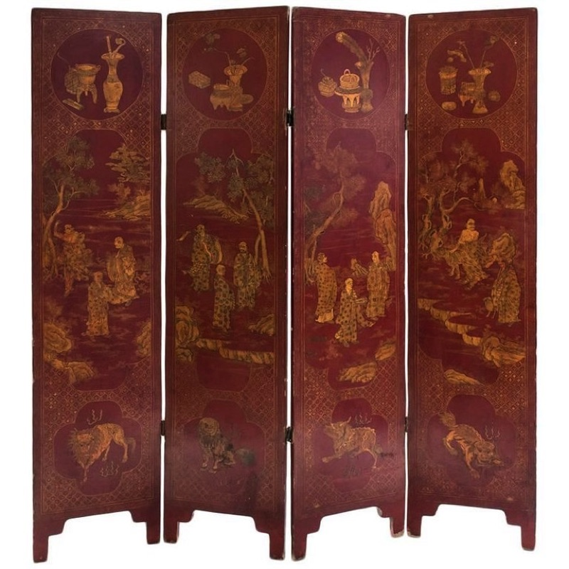 Red Japanese Lacquer Four-Panels Folding Screen, Meiji Period (1868-1912)