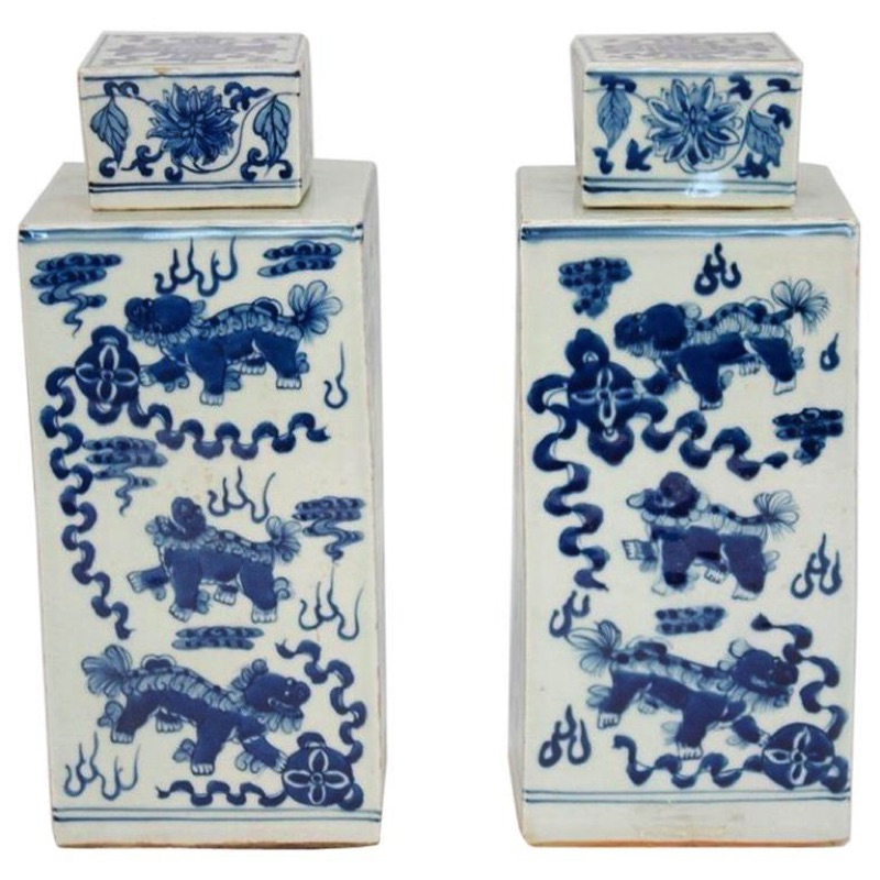 Pair of Covered Squared Pots in Earthenware, 20th Century