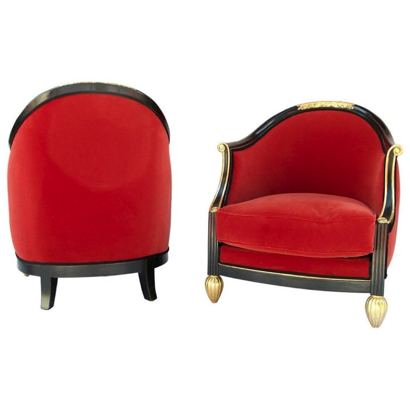 Pair of Art Deco Gondole Armchairs, in the Maurice Dufrêne Style, early 20th Century