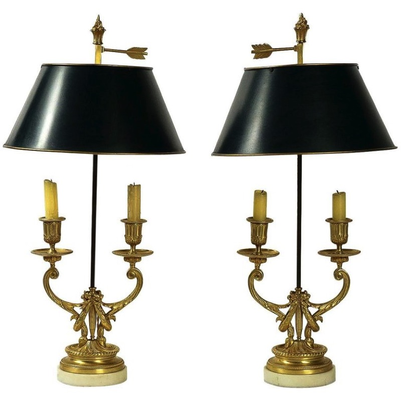 Pair of Louis XVI Style Gilt Bronze Candelabra, Converted in Bouillotte Lamps, early 20th Century