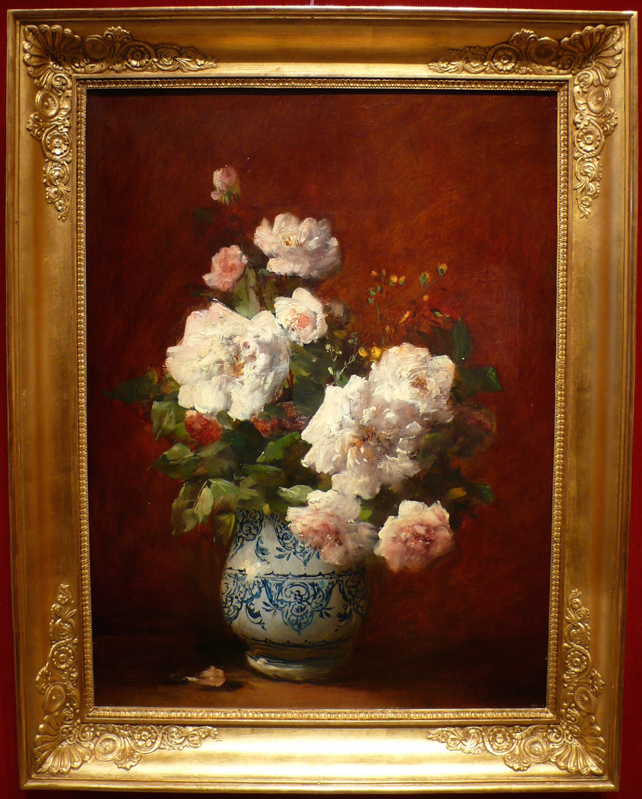 Petit Eugène French Painting From The 19th Century Vase Of Roses Oil On Canvas Signed