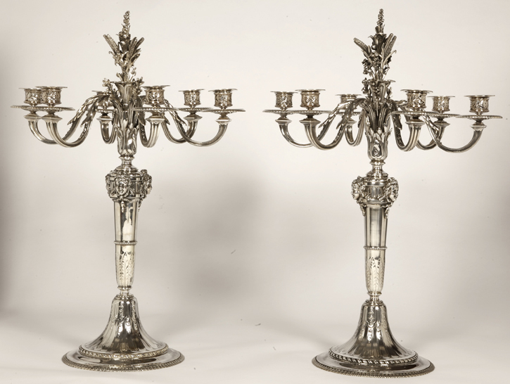 PAIR OF CANDELABRAS IN SOLID SILVER ORFEVRE FROMENT - MEURICE