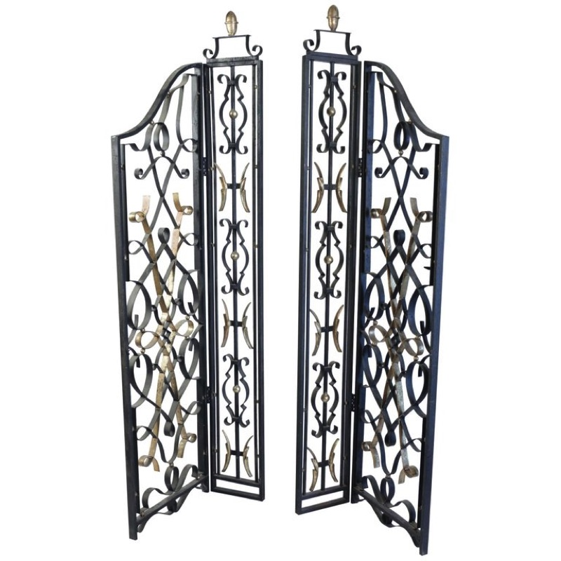 A Pair of Wrought Iron Grills Painted and Gilded, Napoleon III Style, 1960s
